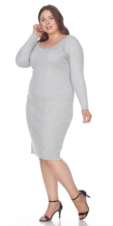 Gray Plus Size Knee-Length Casual Dress with Long Sleeves