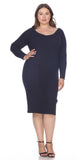 Navy Blue Plus Size Knee-Length Casual Dress with Long Sleeves