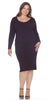 Purple Plus Size Knee-Length Casual Dress with Long Sleeves
