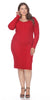 Red Plus Size Knee-Length Casual Dress with Long Sleeves