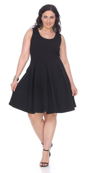 Plus Size Crystal Fit/Flair Skater Dress Black Short Scoop Neck