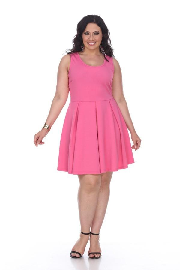 0f1af58c51a Plus Size Crystal Fit Flair Skater Dress Fuchsia Short Scoop Neck –  DiscountDressShop