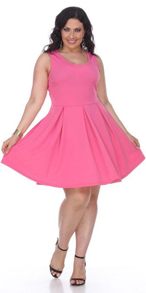 Plus Size Crystal Fit/Flair Skater Dress Fuchsia Short Scoop Neck
