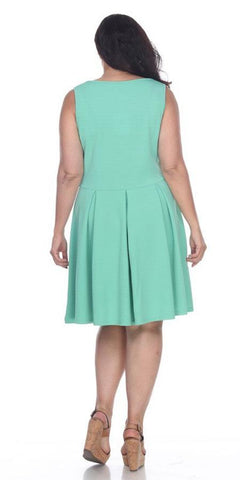 Plus Size Crystal Fit/Flair Skater Dress Mint Short Scoop Neck