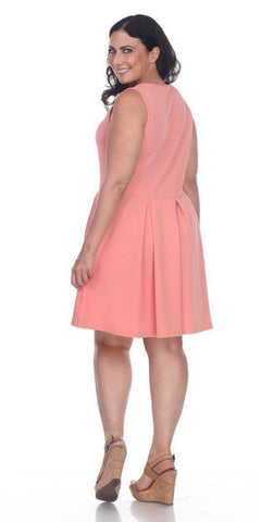 Plus Size Crystal Fit/Flair Skater Dress Coral Short Scoop Neck