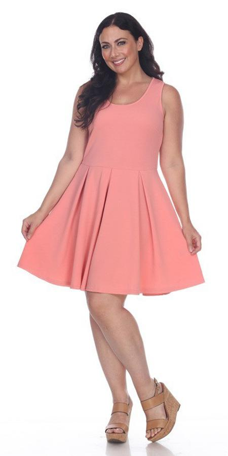 4355e070f12 Plus Size Crystal Fit Flair Skater Dress Coral Short Scoop Neck ...