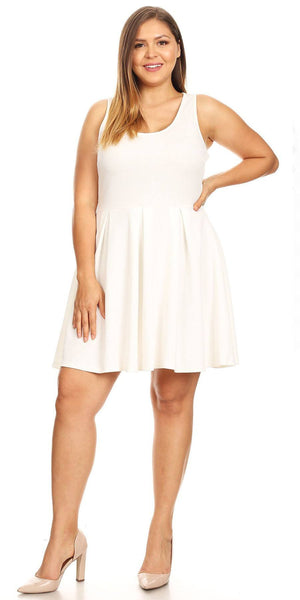 Plus Size Crystal Fit/Flair Skater Dress White Short Scoop Neck