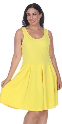 Plus Size Crystal Fit/Flair Skater Dress Yellow Short Scoop Neck