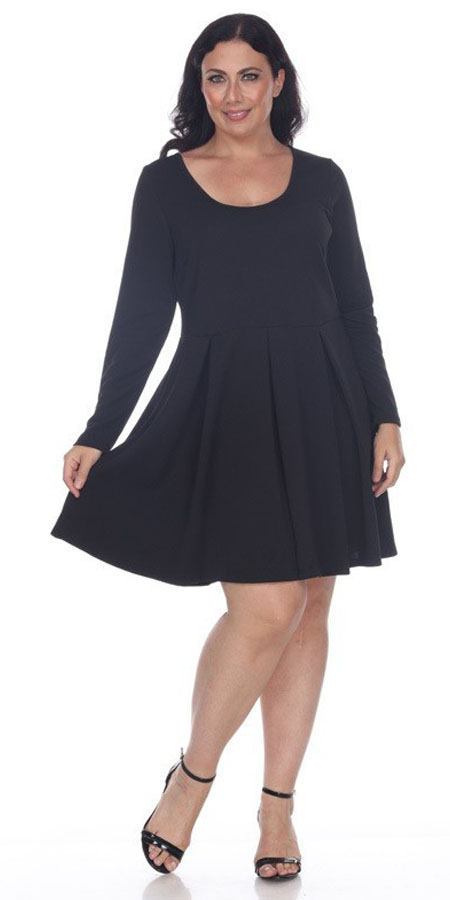 Jenara Dress Black Short Fit/Flare Dress Long Sleeves