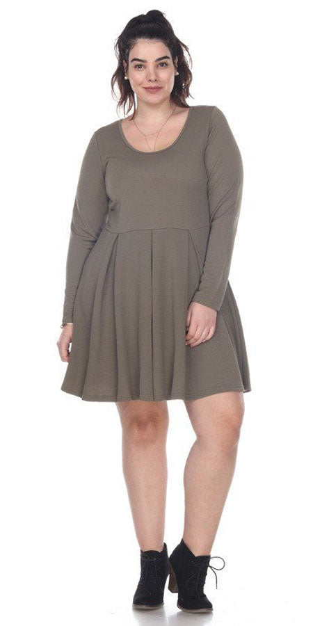 Plus Size Jenara Dress Olive Green Short Fit/Flare Dress Long Sleeves