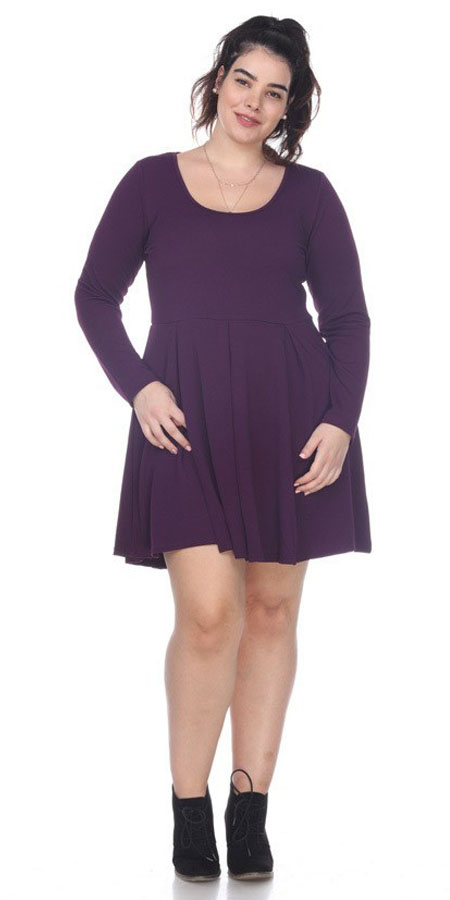 Plus Size Jenara Dress Purple Short Fit/Flare Dress Long Sleeves