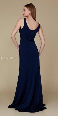 Navy Blue Floor Length Formal Dress V-Neck and Back Sleeveless