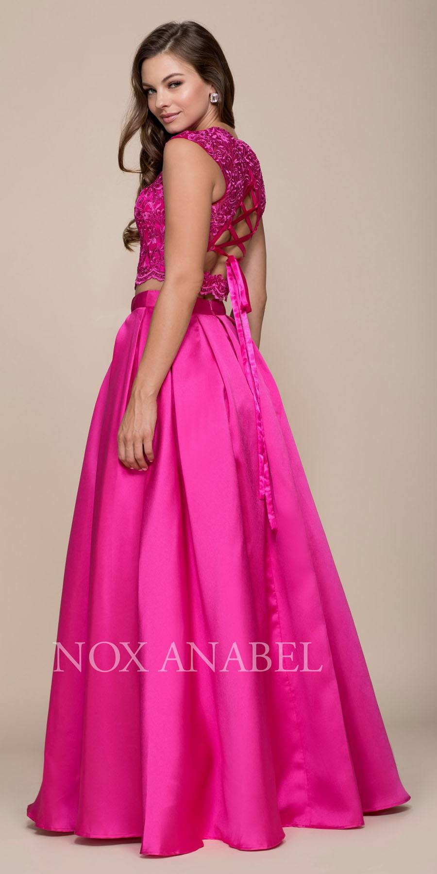 Nox Anabel Q104 Fuchsia Two-Piece Prom Gown Lace Up Back with ...