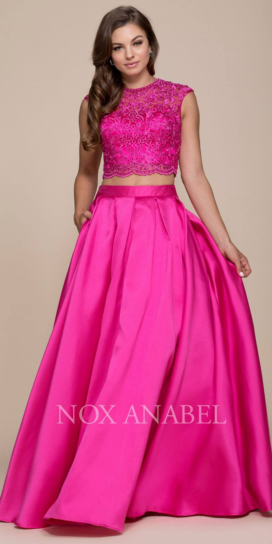 3a3fe112db191 Fuchsia Two-Piece Prom Gown Lace Up Back with Pockets. Tap to expand