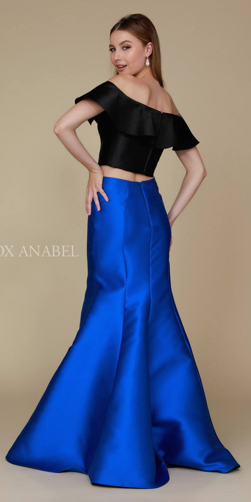 Royal Blue/Black Off Shoulder Mermaid Two-Piece Prom Gown Back View