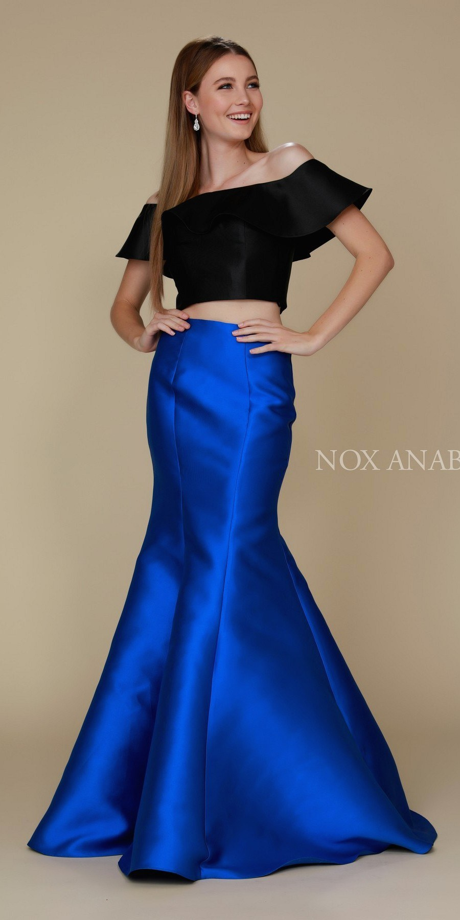 1c38c972e08 Nox Anabel Q129 Royal Black Off Shoulder Mermaid Two-Piece Prom Gown ...