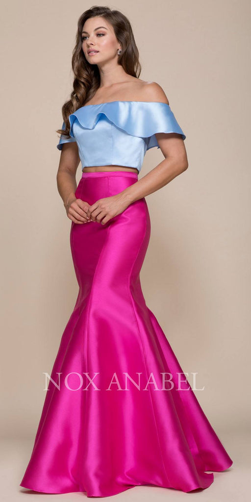 Fuchsia-Blue Off Shoulder Mermaid Two-Piece Prom Gown