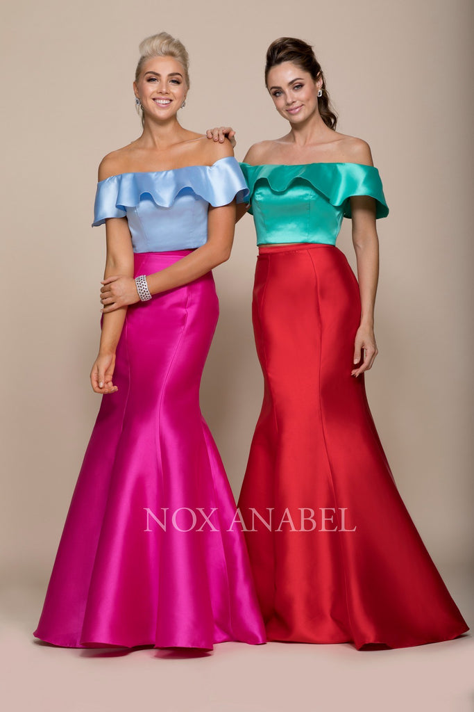 Red-Green Off Shoulder Mermaid Two-Piece Prom Gown