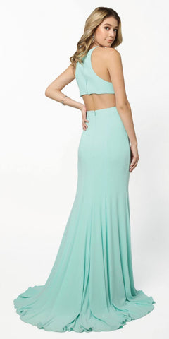 Nox Anabel Q131 Mint Floor Length Prom Dress Cut Out Back with Slit