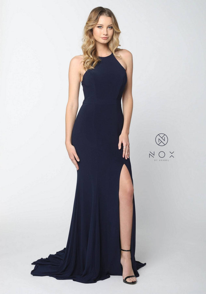 Nox Anabel Q131 Navy Blue Floor Length Prom Dress Cut Out Back with Slit