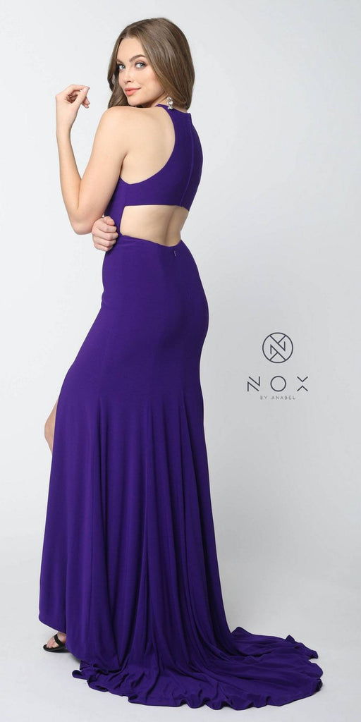 Nox Anabel Q131 Plum Floor Length Prom Dress Cut Out Back with Slit