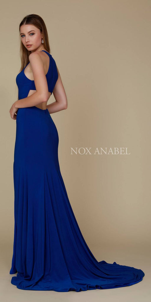 Nox Anabel Q131 Royal Blue Floor Length Prom Dress Cut Out Back with Slit