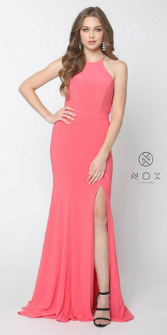 Nox Anabel Q131 Watermelon Floor Length Prom Dress Cut Out Back with Slit