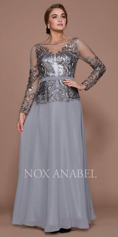 Sequins Embellished Bodice Long Sleeves Formal Dress Gray