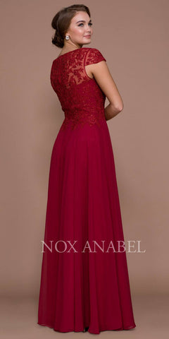 Cap Sleeve A-Line Long Formal Dress Lace Bodice Burgundy
