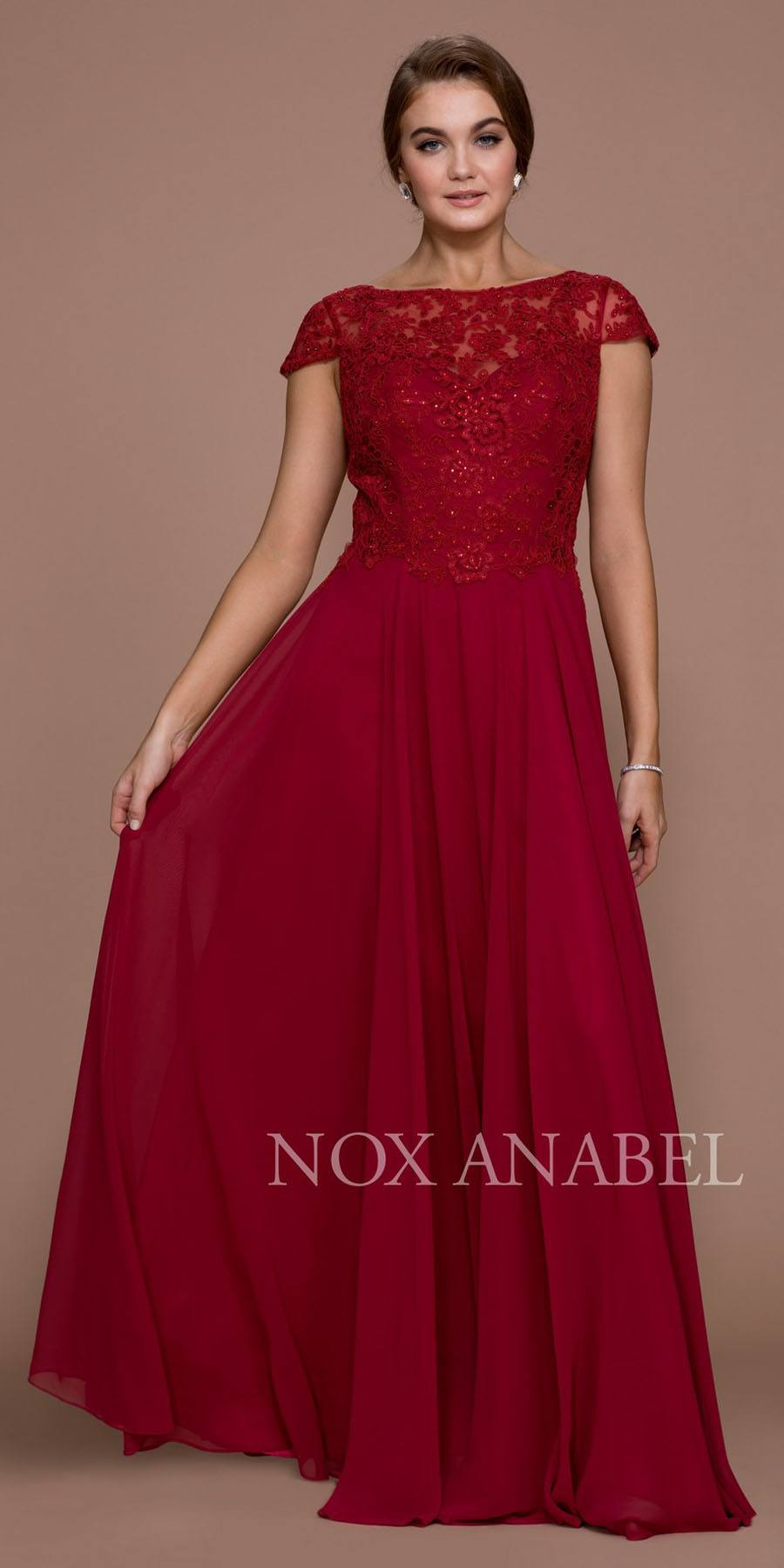 68ebbdeda8f Cap Sleeve A-Line Long Formal Dress Lace Bodice Burgundy. Tap to expand