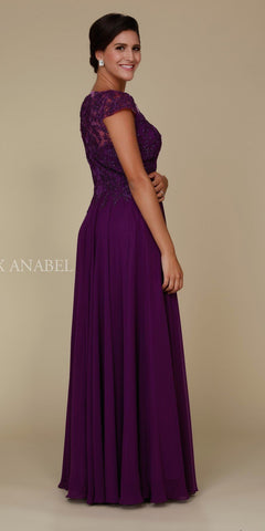 Cap Sleeve A-Line Long Formal Dress Lace Bodice Plum Back View