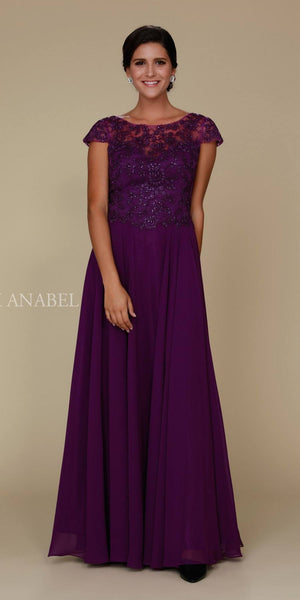 Cap Sleeve A-Line Long Formal Dress Lace Bodice Plum