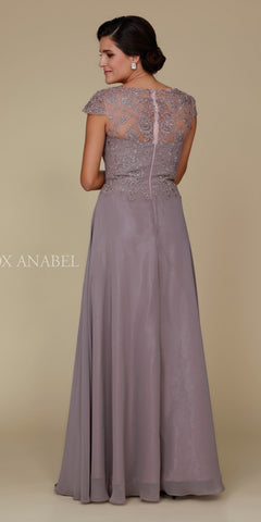 Cap Sleeve A-Line Long Formal Dress Lace Bodice Taupe Back View