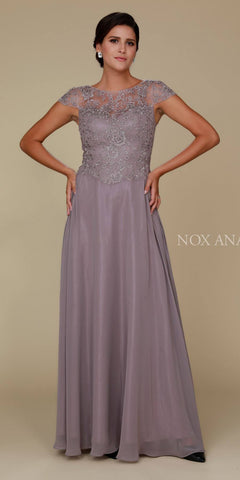 Cap Sleeve A-Line Long Formal Dress Lace Bodice Taupe