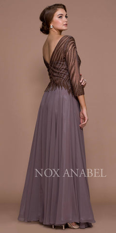 Mocha Mid-Sleeve Illusion Beaded Long Formal Dress V-Back