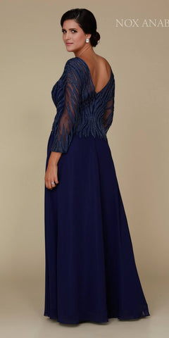 Navy Blue Mid-Sleeve Illusion Beaded Long Formal Dress V-Back
