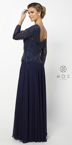 Nox Anabel Q509 Navy Blue Mid-Sleeve Illusion Beaded Long Formal Dress V-Back