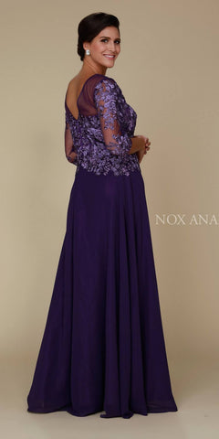 Plum Illusion Appliqued Long Formal Dress Mid-Sleeve Back View