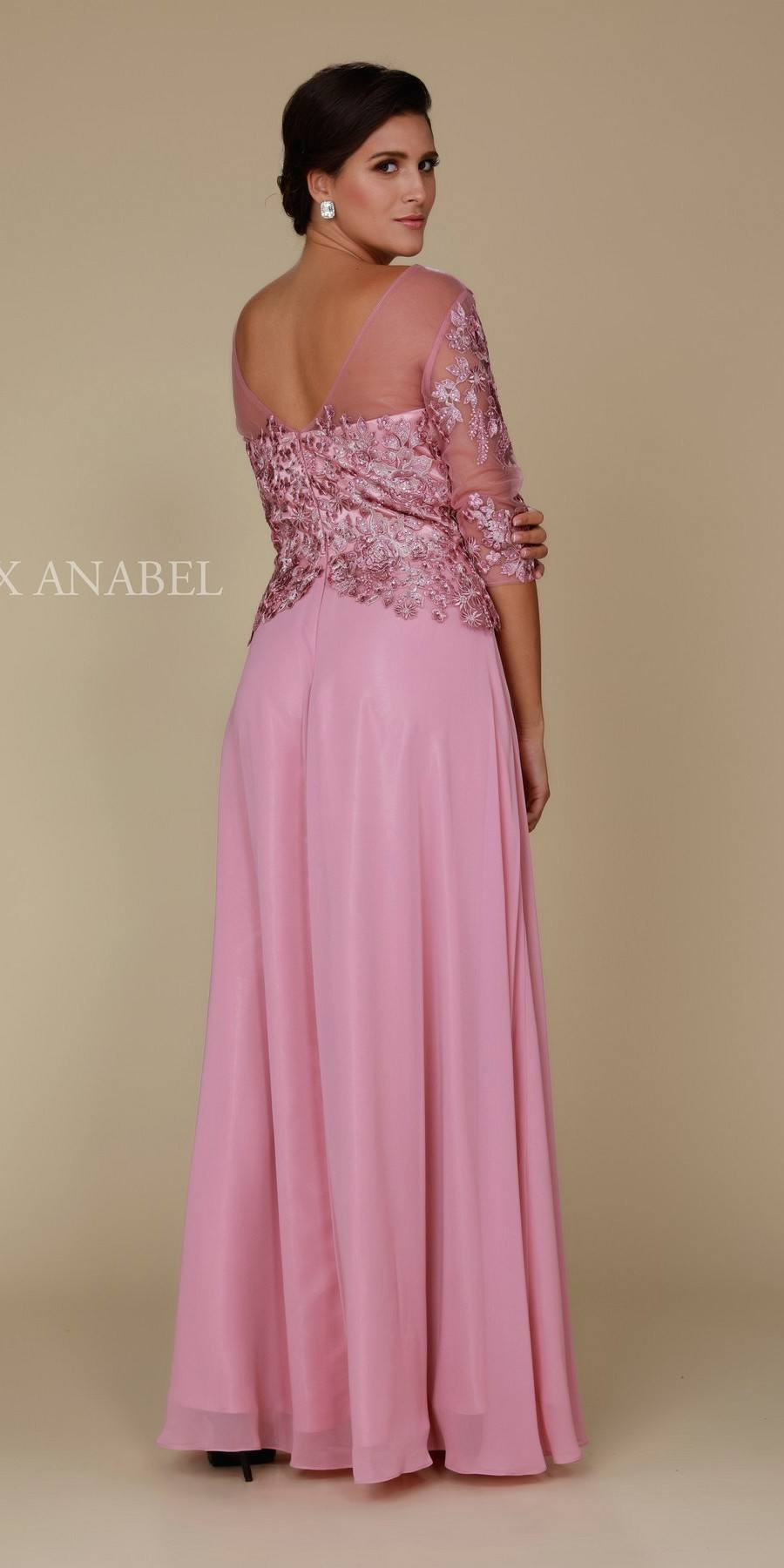 b38a445e261 ... Rose Illusion Appliqued Long Formal Dress Mid-Sleeve Back View ...