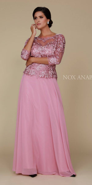 Rose Illusion Appliqued Long Formal Dress Mid-Sleeve