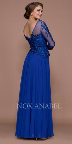 Sapphire Illusion Appliqued Long Formal Dress Mid-Sleeve
