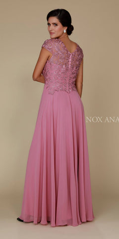Mauve Appliqued Bodice Long Formal Dress V-Neck Back View
