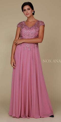 Mauve Appliqued Bodice Long Formal Dress V-Neck