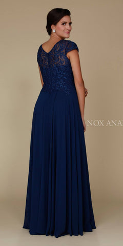 Navy Blue Appliqued Bodice Long Formal Dress V-Neck Back View