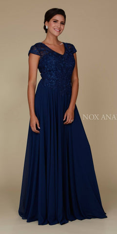 Navy Blue Appliqued Bodice Long Formal Dress V-Neck