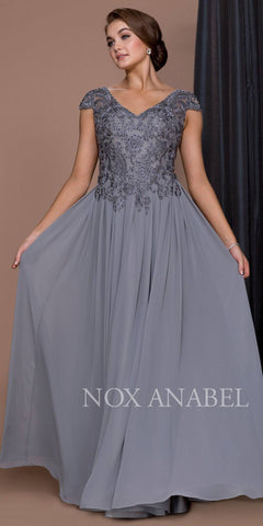 Steel Appliqued Bodice Long Formal Dress V-Neck