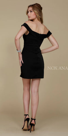 Nox Anabel Q601 Off the Shoulder Strap Black Cocktail Dress Back View