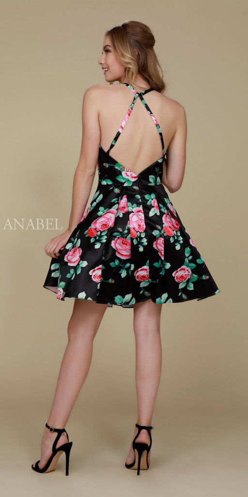 Nox Anabel Q602 Black Floral Print Homecoming Dress A Line Back View