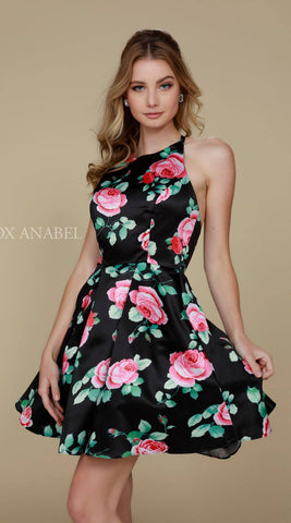 Nox Anabel Q602 Black Floral Print Homecoming Dress A Line