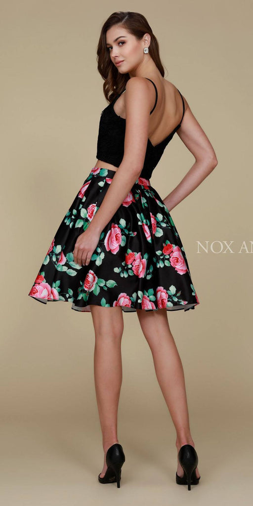 Nox Anabel Q604 Short Black Floral Two Piece Homecoming With Pockets Back View